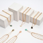 Wholesale chain Link Layered Semi Precious Necklace Gold Pendant Adjustable Exte