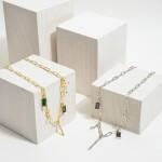 Wholesale chain Link Charm Necklace Natural Stone Rhinestone Cross Lightning Bol