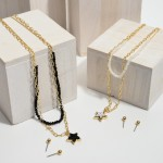 Wholesale layered Beaded Chain Link Druzy Star Necklace Adjustable Extender