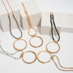 Wholesale long Beaded Necklace Ring Pendant Gold Pendant Diameter Adjustable Ext