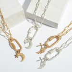 Wholesale chain Link Cross Wing Carabiner Charm Necklace Carabiner Twist Clasp P