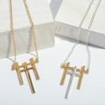 Wholesale triple Metal Cross Pendant Necklace Pendant Adjustable Extender