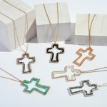 Wholesale long Necklace Beaded Cross Pendant Pendant Adjustable Extender