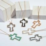 Wholesale long Necklace Beaded Cross Pendant Pendant Adjustable Extender