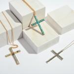 Wholesale long Necklace Semi Precious Beaded Cross Pendant Pendant Adjustable Ex