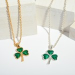 Wholesale st Patricks Epoxy Clover Pendant Necklace Pendant Adjustable Extender