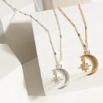 Wholesale short Chain Necklace Crescent Moon Pendant Star Charm Chain Extender