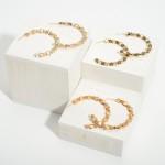 Wholesale iridescent Hoop Earrings Bead Accents Star Details Diameter