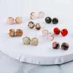Wholesale natural stone inspired stud earrings cm diameter