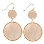 Wholesale long ivory mother pearl circular earrings brass detail long