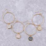 Wholesale circular metal earrings druzy accent