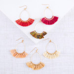 Wholesale dainty teardrop earrings tassel details gold accents