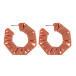 Wholesale raffia wrapped hoop earrings diameter