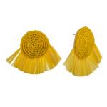 Wholesale seed beaded felt disc earrings raffia tassel details