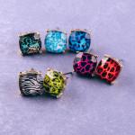 Wholesale stud earrings iridescent stone leopard print details cm diameter