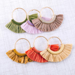 Wholesale circular metal earrings enamel raffia tassel details stud post