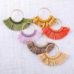 Wholesale circular metal earrings enamel raffia tassel details stud post