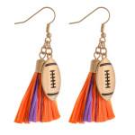 Wholesale raffia tassel drop earrings gold metal football accent