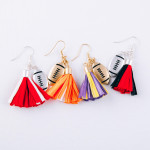 Wholesale raffia tassel drop earrings gold metal football accent