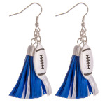 Wholesale raffia tassel drop earrings silver metal football accent