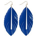 Wholesale game day faux leather feather inspired earrings colored bar accent