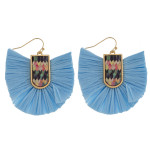 Wholesale drop earrings raffia tassel details wood inspired pattern accent