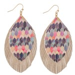 Wholesale double Layered Multicolor Geometric Print Feather Drop Earrings