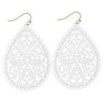 Wholesale long filigree inspired teardrop earrings