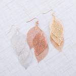 Wholesale trio filigree leaf inspired drop earrings