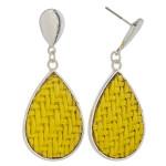 Wholesale raffia rattan woven teardrop earrings