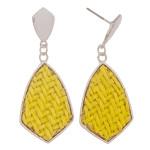 Wholesale raffia rattan woven drop earrings