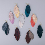 Wholesale double layered genuine leather feather inspired earrings glitter accen
