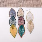 Wholesale long filigree leaf inspired earrings