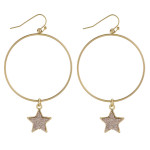 Wholesale round metal earrings druzy star accent