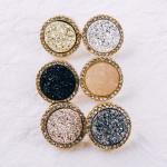 Wholesale druzy disc stud earrings cubic zirconia accents diameter