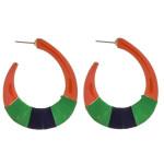 Wholesale enamel thread wrapped J hoop earrings