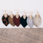 Wholesale faux leather leaf dangle earrings