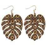 Wholesale geometric cork leaf dangle earrings