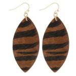 Wholesale cowhide zebra print drop earrings