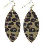 Wholesale leopard print faux fur pointed oval drop earrings