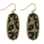 Wholesale leopard print cowhide encased drop earrings