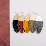 Wholesale faux fur feather linked drop earrings