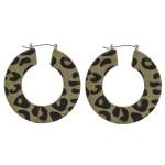Wholesale leopard print cowhide flat pin catch hoop earrings diameter