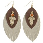 Wholesale faux leather rhinestone feather earrings