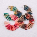 Wholesale ombre raffia wrapped octagon open hoop earrings diameter