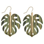 Wholesale resin palm leaf drop earrings