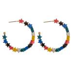 Wholesale color block star beaded open hoop earrings diameter