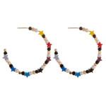 Wholesale color block star pearl beaded open hoop earrings diameter