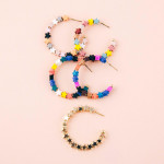 Wholesale color block star beaded open hoop earrings diameter