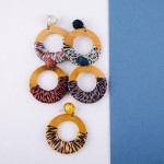 Wholesale raffia wrapped open circle wood earrings diameter